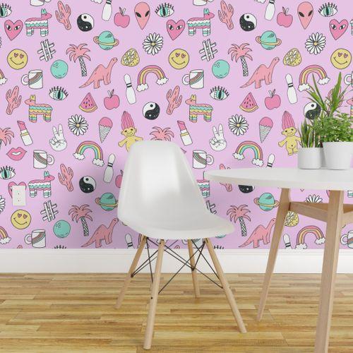 Wallpaper Patches 90s Nostalgia Pastel Print Fairy Kei Fabric Design Rainbows Dinosaurs Planets Space Cute Girls Design
