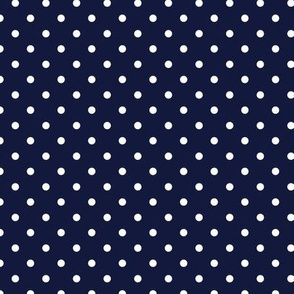 Polka Dot - White on Navy