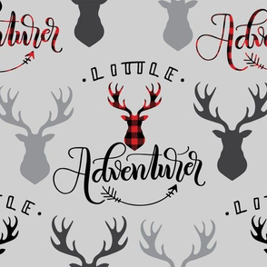 Little adventurer - 12 inch - Deer heads grey background