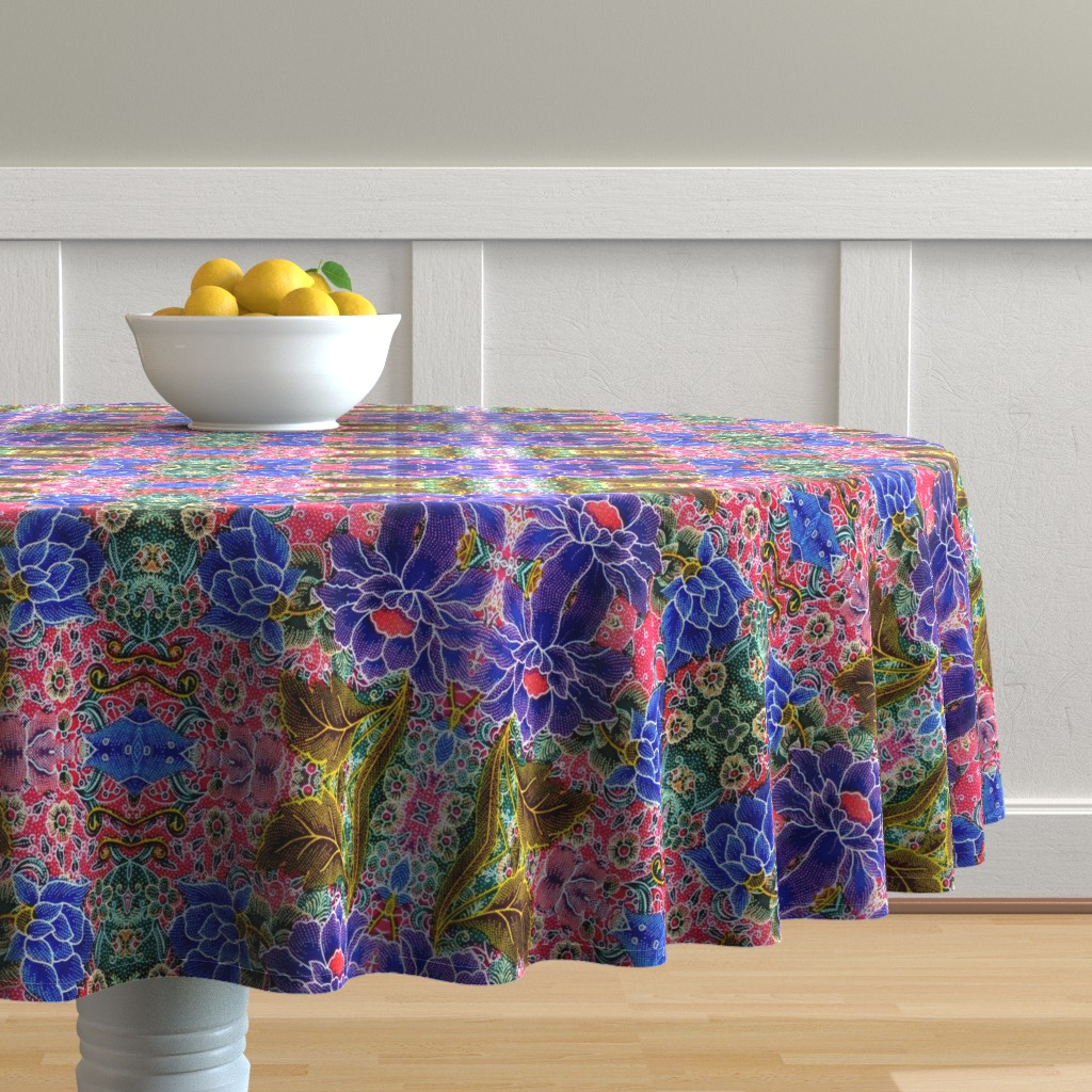 Malay Round Tablecloth featuring batik tribal folk art sarung sarong indonesian malaysian bali inspired floral flowers leaves leaf   by raveneve