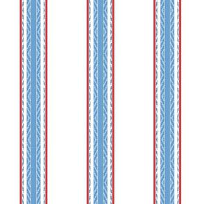 Modern French Ticking Stripe-Farmhouse Blue Red White