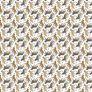 Trotting Belgian Tervuren and paw prints - tiny white