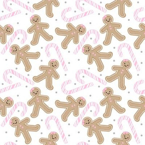 Gingerbread Girl with Pink Candy cane SMALL