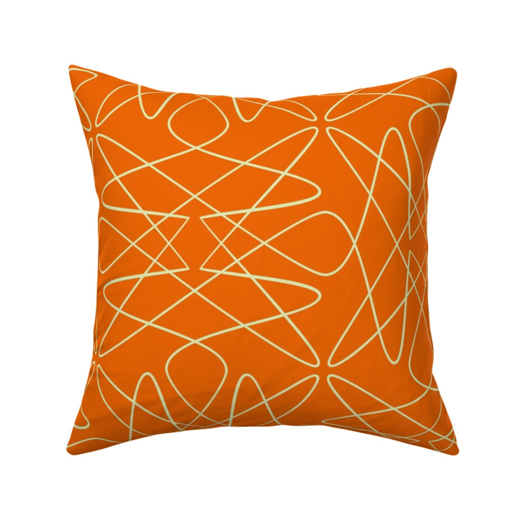 Catalan Throw Pillow featuring Tangly Loops - Orange by zuzana_licko