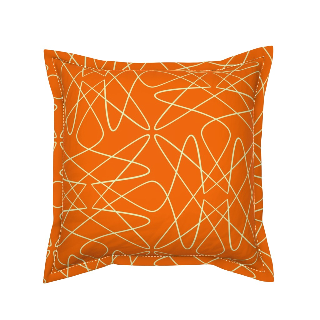 Serama Throw Pillow featuring Tangly Loops - Orange by zuzana_licko