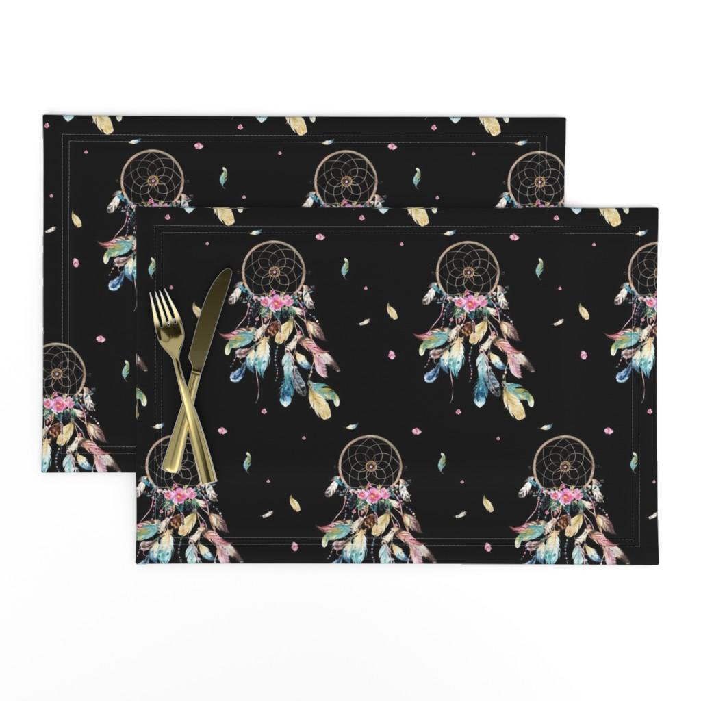"Lamona Cloth Placemats featuring 7"" Bohemian Dreams / Free Falling / Black by shopcabin"