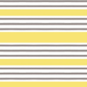 Gray and White Pillow Ticking with Yellow Stripe