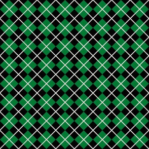 Diamonds and Stripes - Green and Silver
