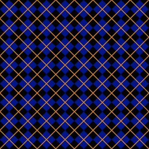 Diamonds and Stripes - Blue and Bronze