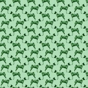 Small Standing Basenji - green