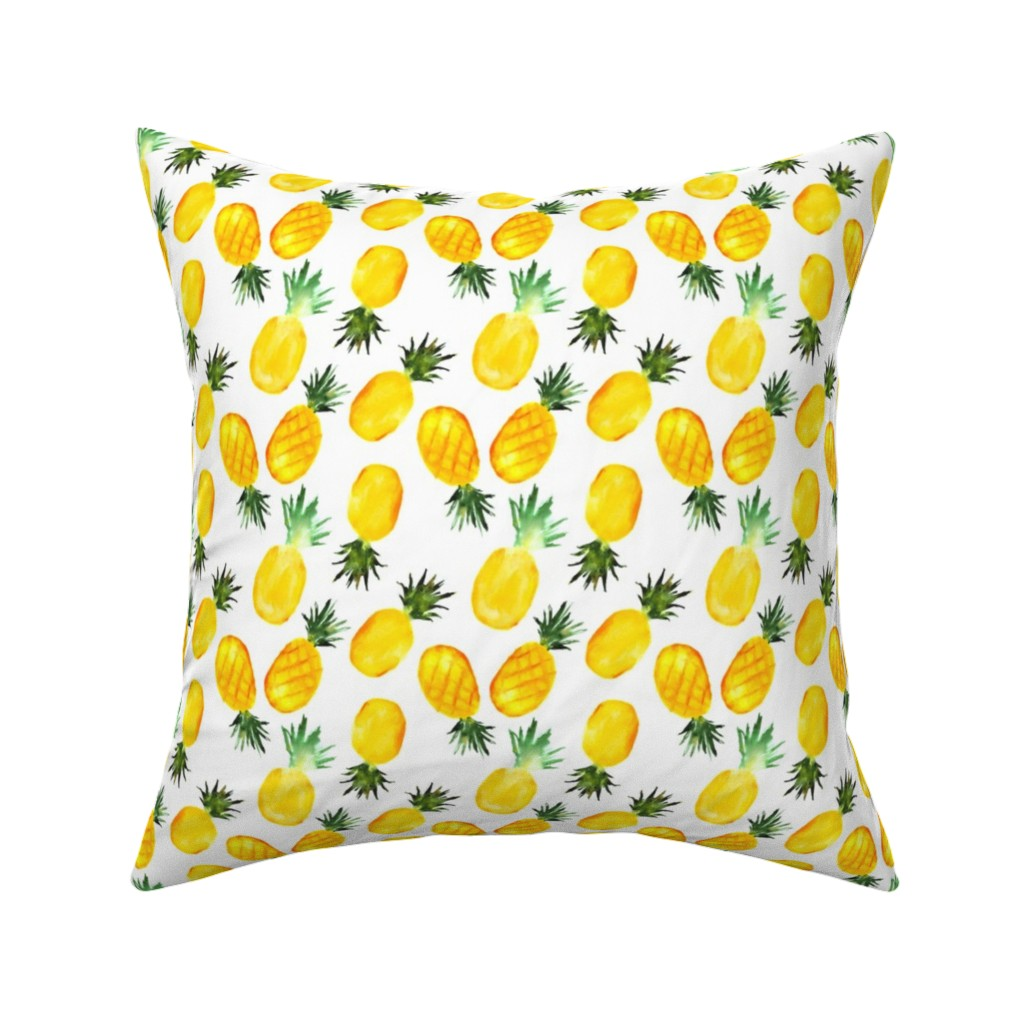 Catalan Throw Pillow featuring Watercolor pineapples by katerinaizotova