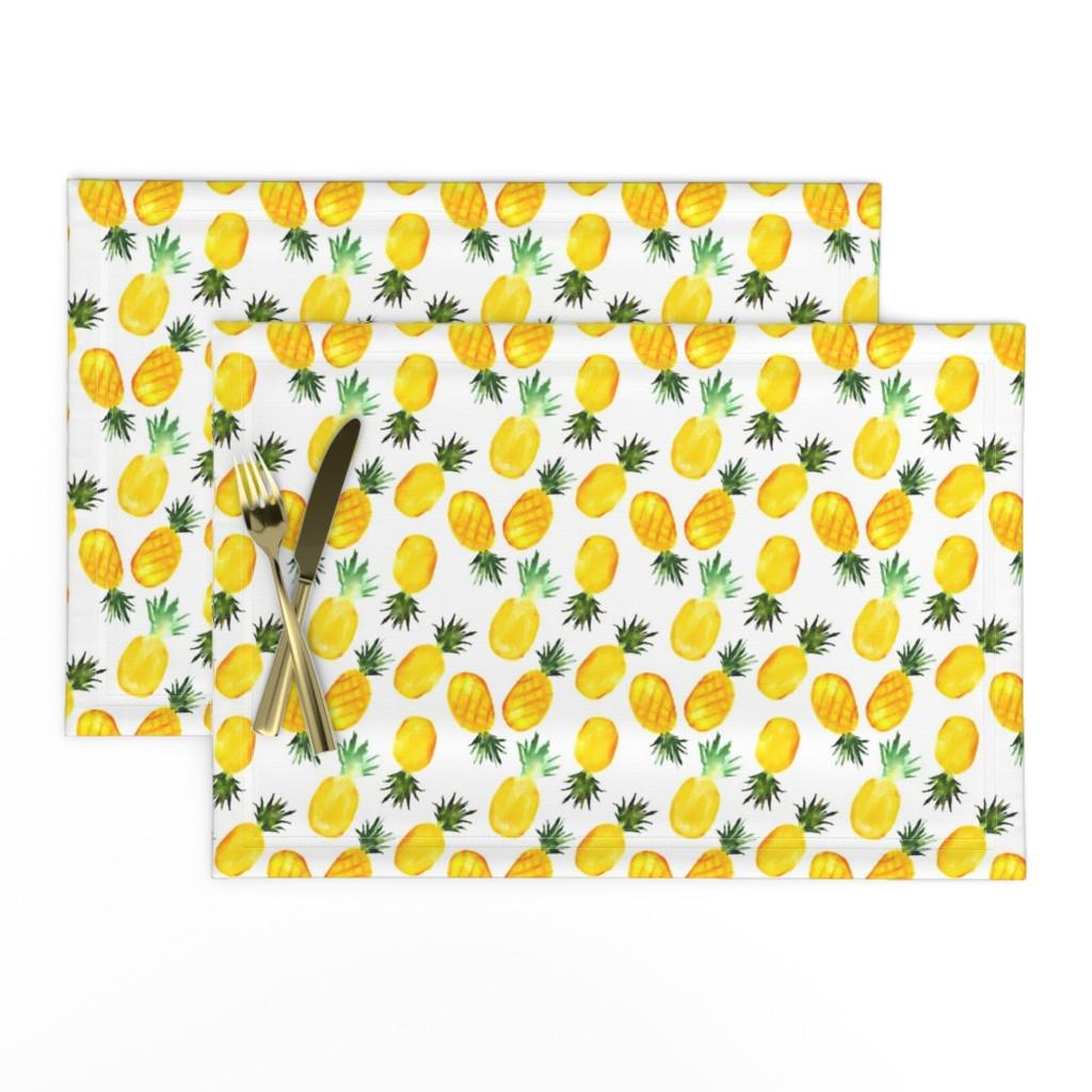 Lamona Cloth Placemats featuring Watercolor pineapples by katerinaizotova