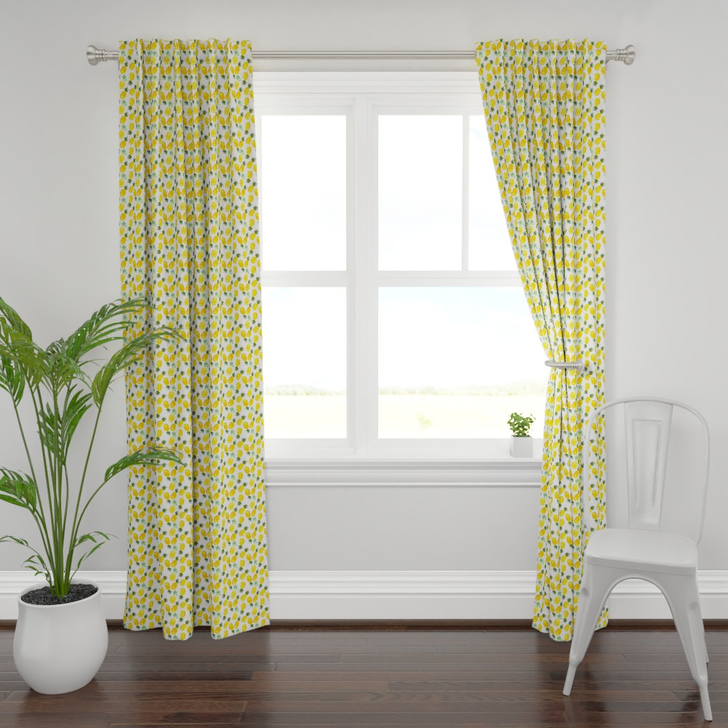 Plymouth Curtain Panel featuring Watercolor pineapples by katerinaizotova