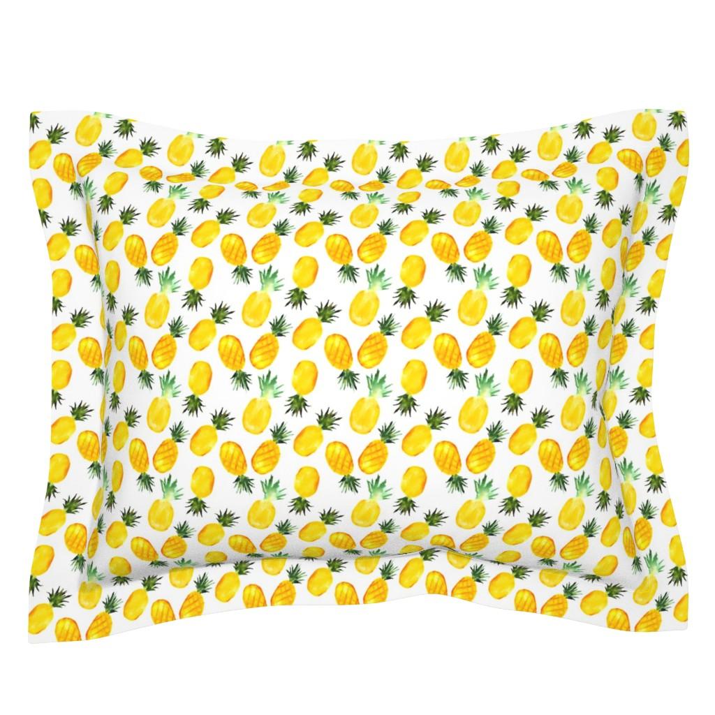 Sebright Pillow Sham featuring Watercolor pineapples by katerinaizotova