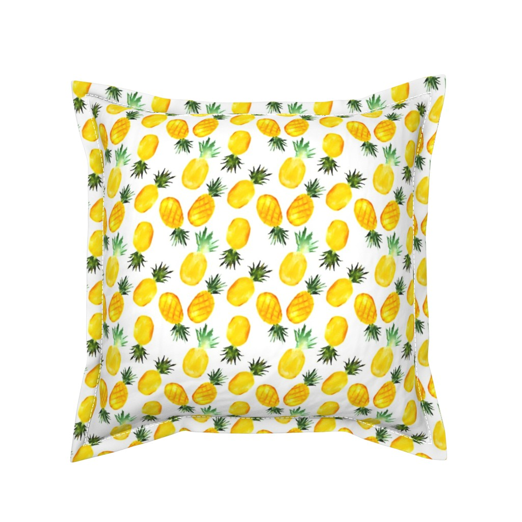 Serama Throw Pillow featuring Watercolor pineapples by katerinaizotova