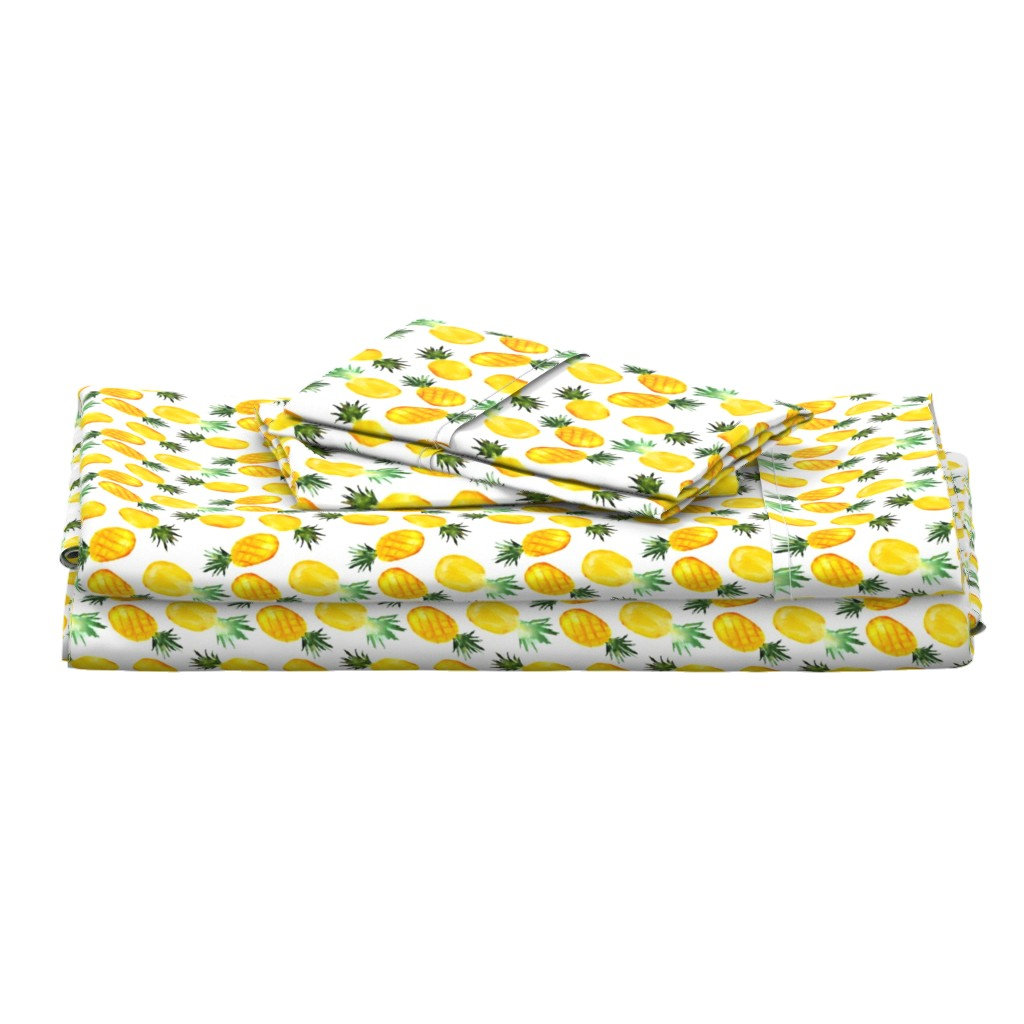 Langshan Full Bed Set featuring Watercolor pineapples by katerinaizotova