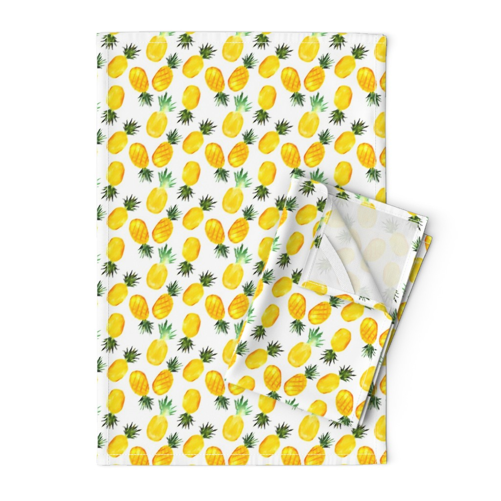 Orpington Tea Towels featuring Watercolor pineapples by katerinaizotova
