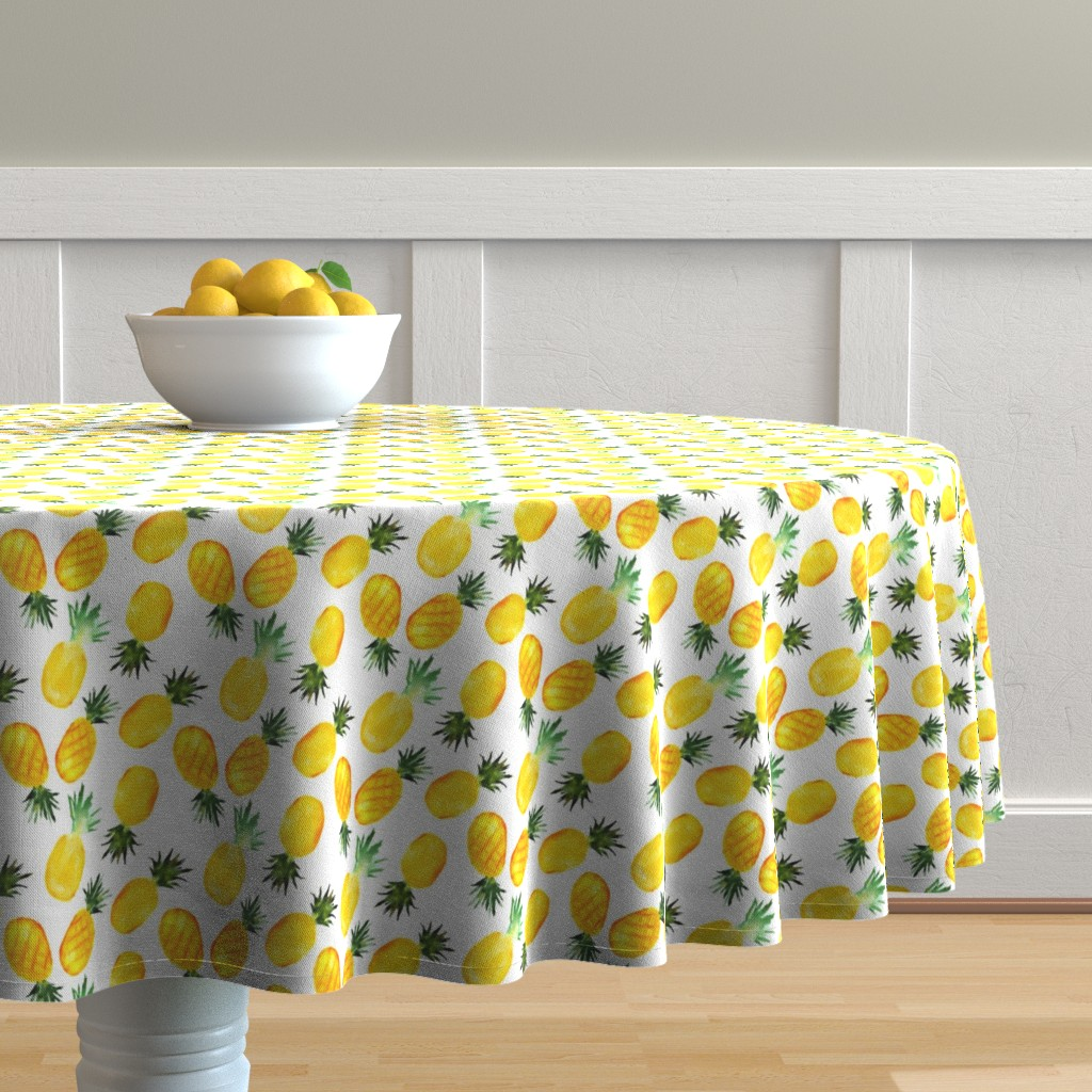 Malay Round Tablecloth featuring Watercolor pineapples by katerinaizotova