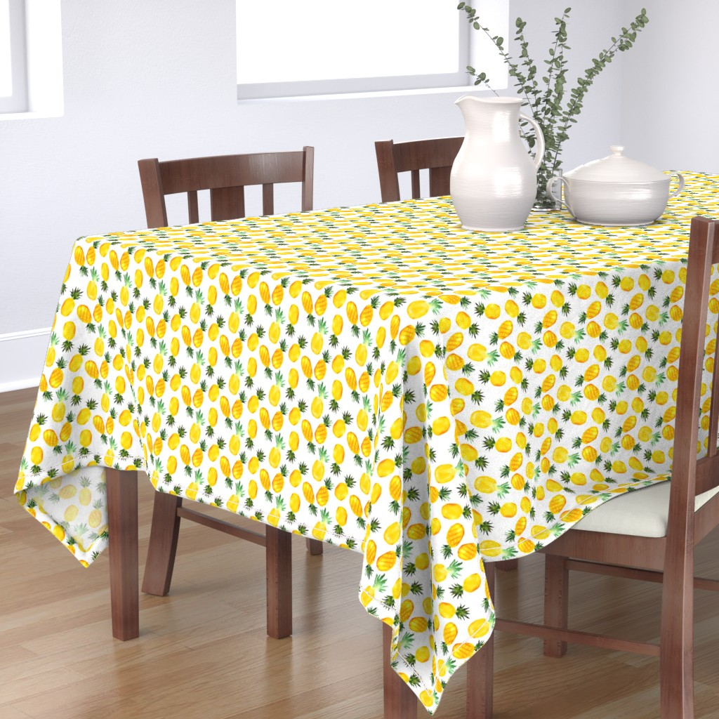 Bantam Rectangular Tablecloth featuring Watercolor pineapples by katerinaizotova