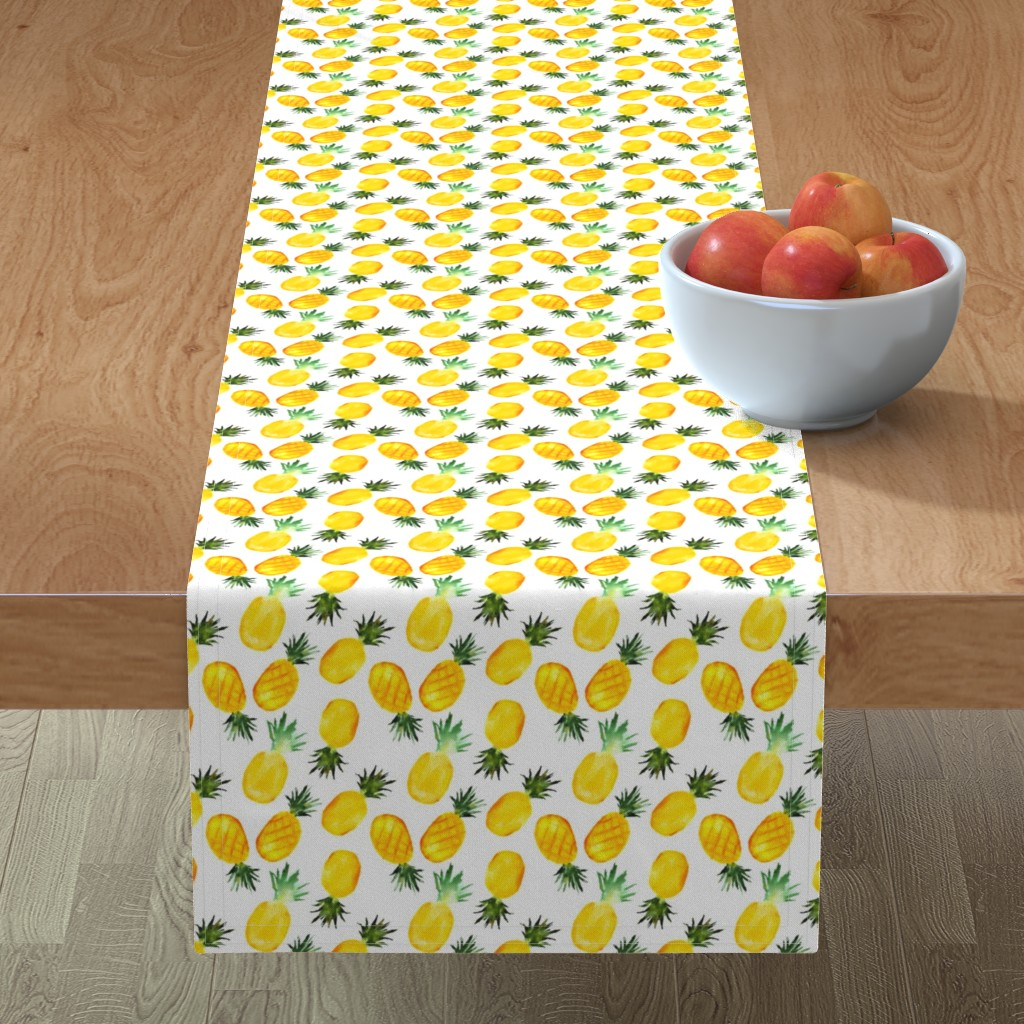 Minorca Table Runner featuring Watercolor pineapples by katerinaizotova