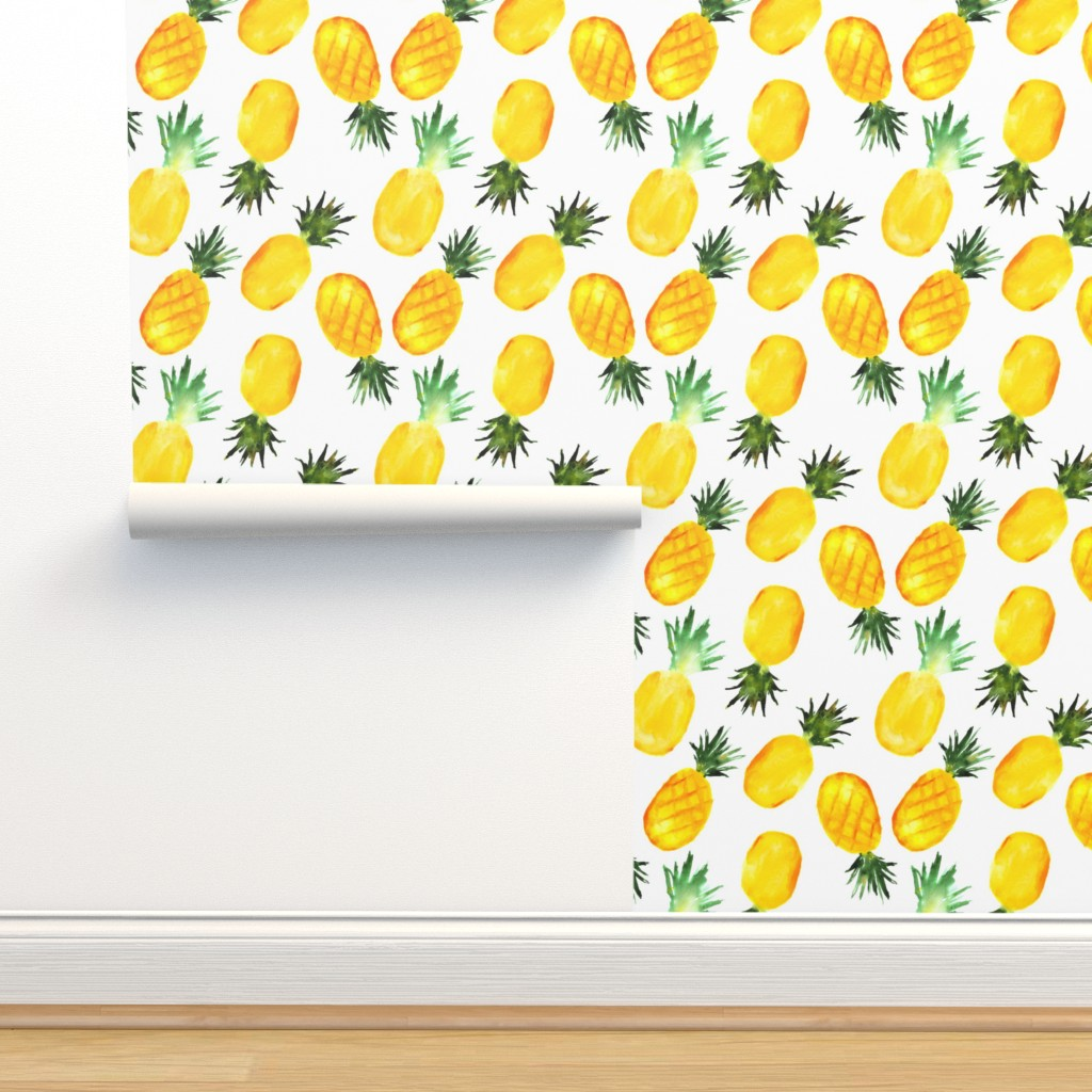 Isobar Durable Wallpaper featuring Watercolor pineapples by katerinaizotova