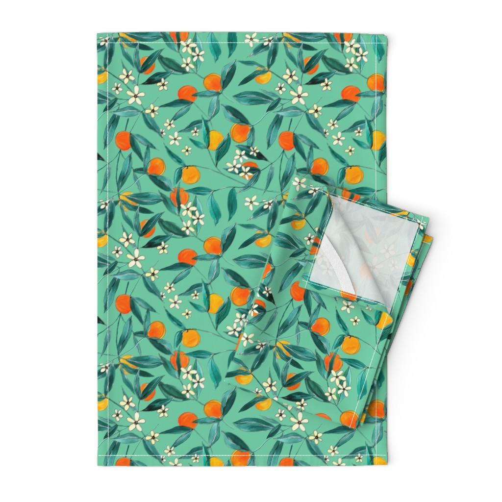 Orpington Tea Towels featuring Orange Summer (Light Green) by joy&ink