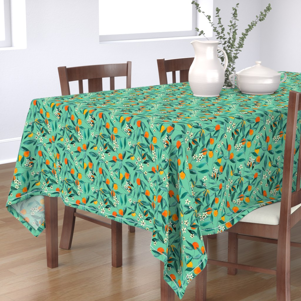 Bantam Rectangular Tablecloth featuring Orange Summer (Light Green) by joy&ink