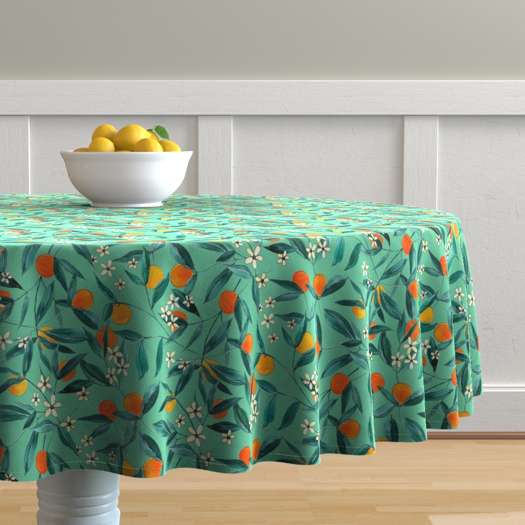 Malay Round Tablecloth featuring Orange Summer (Light Green) by joy&ink