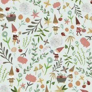 Fun in the Garden/ Gnomes Garden Fabric/Mint Garden