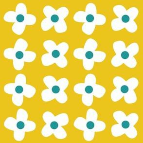 retro flowers yellow