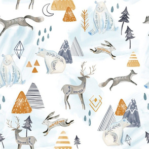 Northen Lights/ Woodland Artic animals/ Polar Bear Deer Bunny