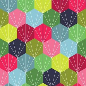 Geometric Hexie Honeycomb Colorful