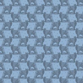 Belgian sheepdog standing stamp - small blue