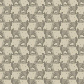 Small Belgian sheepdog standing stamp - tan