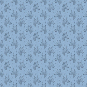 xoloitzcuintli face stamp - small blue