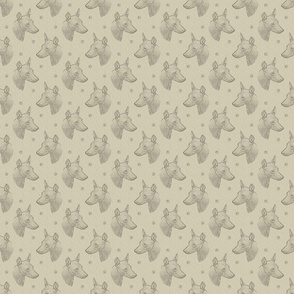 xoloitzcuintli face stamp - small tan