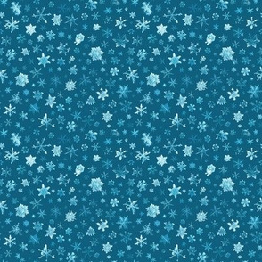 photographic snowflakes on cyan (small snowflakes)