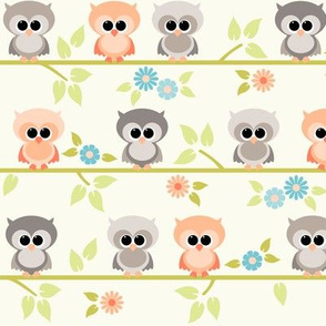 Baby owls with blue