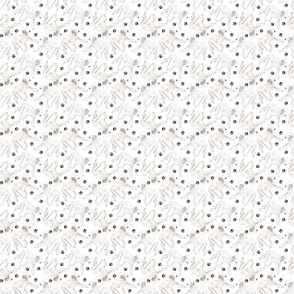Tiny Trotting Bedlington Terriers and paw prints - white