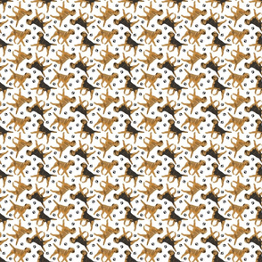 Trotting Border Terriers and paw prints - tiny white