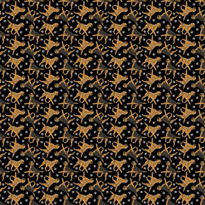 Tiny Trotting Border Terriers and paw prints - black
