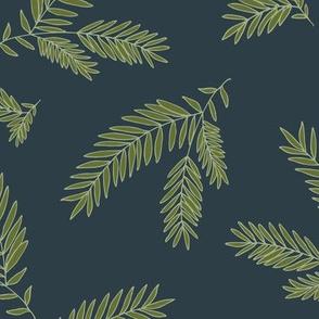Pine Sprig - Ivy, Navy