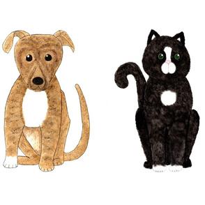 Cat and Dog Cut and Sew  fat quarter