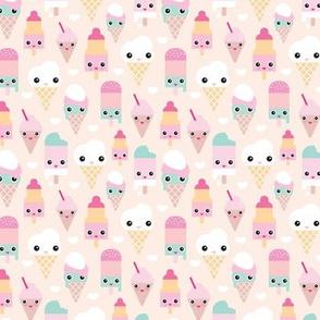 Colorful sweet summer ice cream popsicle sugar pastel kawaii illustration XS