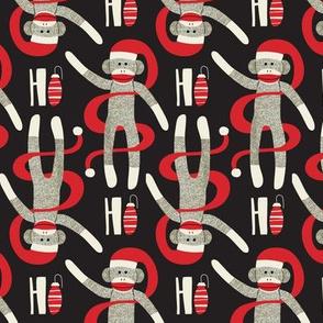 Sock Monkey Santa - Retro Christmas Black