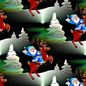 santa claus rides the reindeer