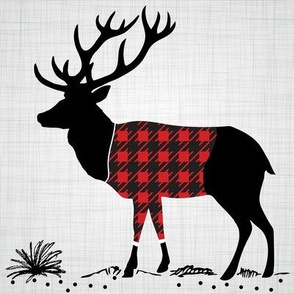 "8"" Quilt block - Deer with buffalo plaid shirt"