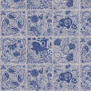 Palace Garden | Indigo Woodblock Tile