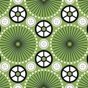 06014305 © SC64 pinwheel cottonreel button : green