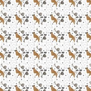 Tiny Trotting Akitas and paw prints - white